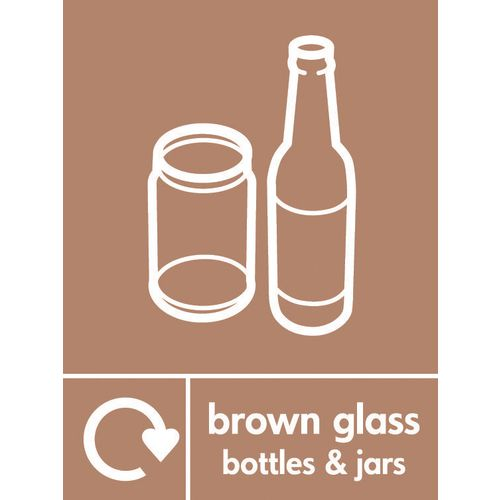 """Recycling Sign """"Brown Glass Bottles"""" Rigid Plastic 210x300mm"""