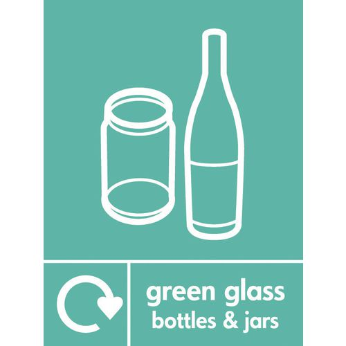 "Recycling Sign ""Green Glass Bottles"" Rigid Plastic 210x300mm"