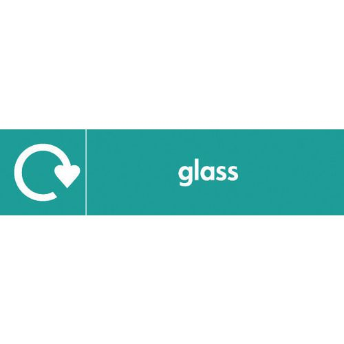 "Recycling Sign ""Glass"" Rigid Plastic 350x100mm"
