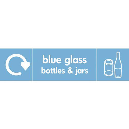 "Recycling Sign ""Blue Glass Bottles"" Rigid Plastic 500x200mm"
