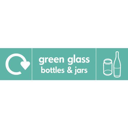 "Recycling Sign ""Green Glass Bottles"" Rigid Plastic 350x100mm"