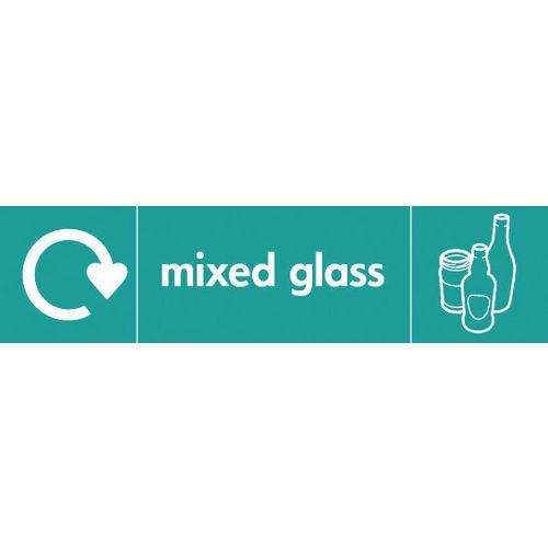 "Recycling Sign ""Mixed Glass"" Rigid Plastic 350x100mm"
