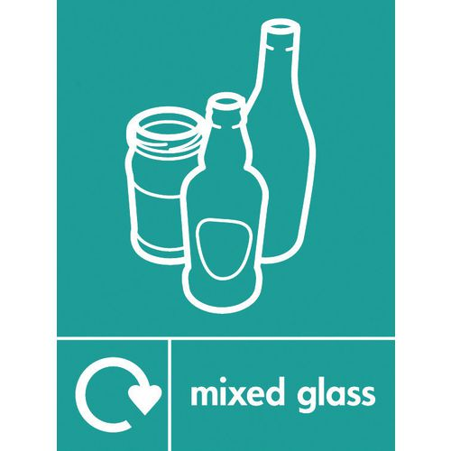 "Recycling Sign ""Mixed Glass"" Rigid Plastic 300x400mm"