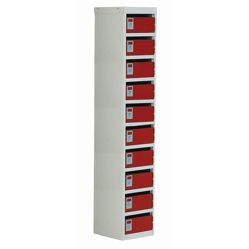 Locker Post Box Red Doors 100 Series Floor Mount 10 Box