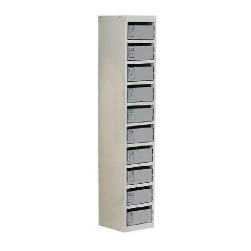 Locker Post Box Light Grey Doors 140 Series Floor Mount 10 Box