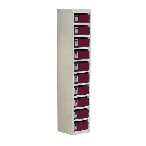 Locker Post Box Red Doors 140 Series Floor Mount 10 Box