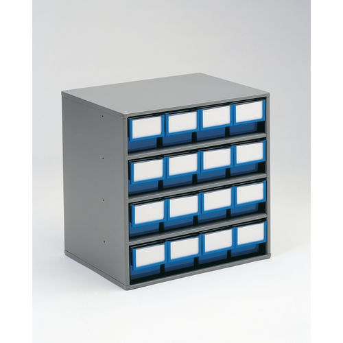 Cabinet Coloured Bin With 16 Type A Blue Bins