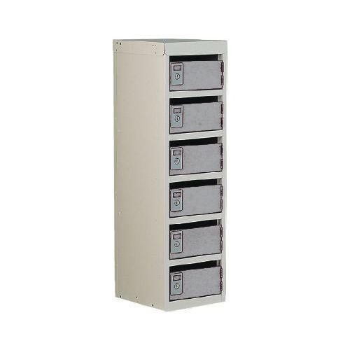 Locker Post Box Light Grey Doors 240 Series Floor Mount 6 Box