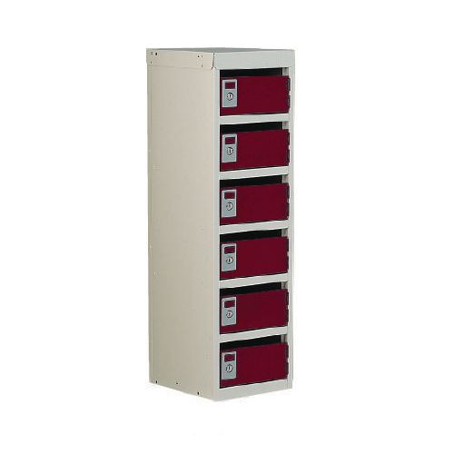 Locker Post Box Red Doors 240 Series Floor Mount 6 Box
