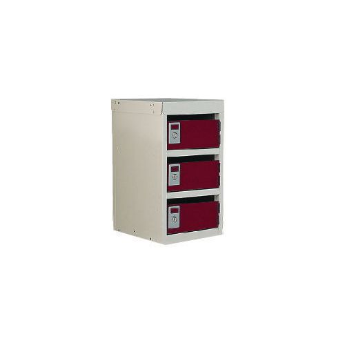 Locker Post Box Red Doors 240 Series Table Mount 3 Box