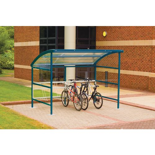 Premium Cycle Shelter And Cycle Rack - Extension Shelter - Plastic Roof And Sides Blue