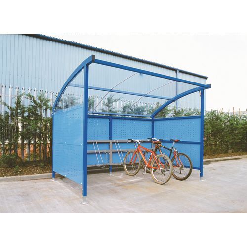 Premium Cycle Shelter And Cycle Rack - Extension Shelter - Plastic Roof And Perforated Steel Sides Blue