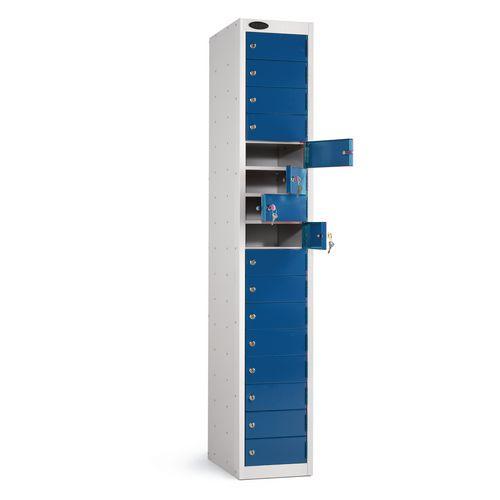 Locker 16 Door White Body Blue Door