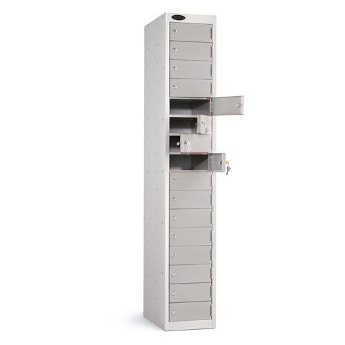 Locker 16 Door White Body Silver Door