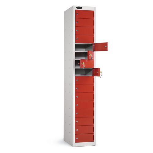 Locker 16 Door White Body Red Door
