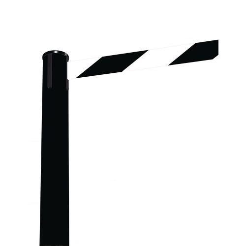 Barrier Fully Retractable Adv. Black Post &lack/White Belt