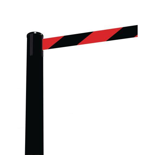 Barrier Fully Retractable Adv. Black Post &Black/Red Belt