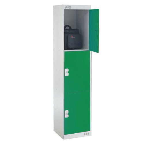 Coloured Door Lockers Standard Top 3 Door Light Grey Body &Green Doors 450mm Deep