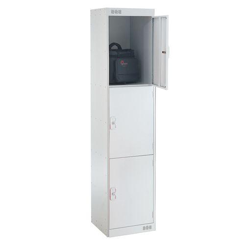 Coloured Door Lockers Standard Top 3 Door Light Grey Body &Doors 450mm Deep