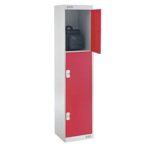 Coloured Door Lockers Standard Top 3 Door Light Grey Body &Red Doors 450mm Deep