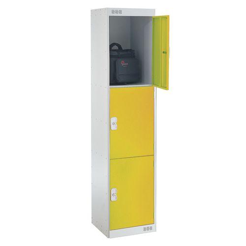 Coloured Door Lockers Standard Top 3 Door Light Grey Body &Yellow Doors 450mm Deep