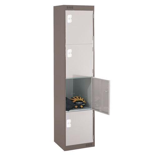 Coloured Door Locker Standard Top 4 Door Dark Grey Body &Light Grey Doors 450mm Deep