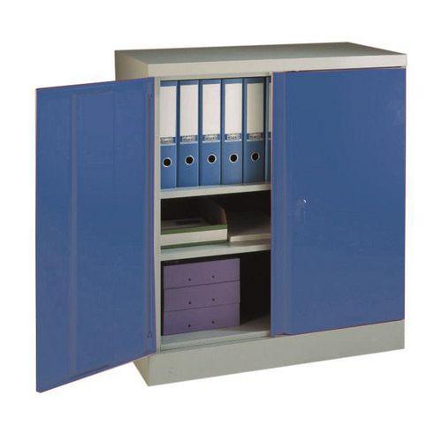 Office Cupboard 984mm Highx915mm Wide Light Grey Body &Blue Doors
