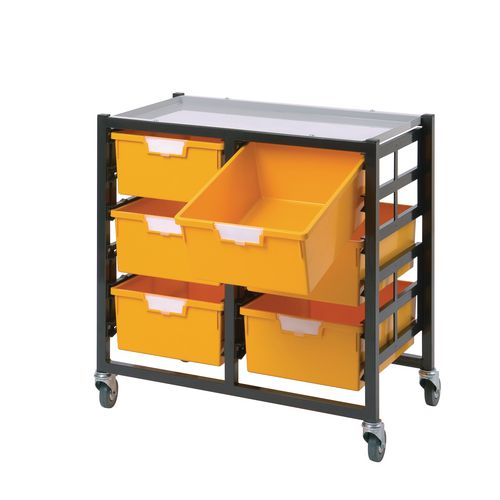 Mobile Tray Storage Unit 3 Deep Trays Red A4 340x435x620mm