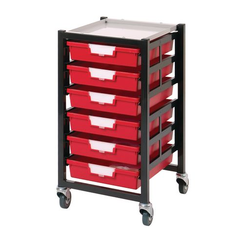 Mobile Tray Storage Unit 6 Shallow Trays Green A4 340x435x620mm