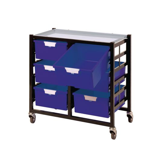 Mobile Tray Storage Unit 6 Deep Trays Blue A4 690x435x620mm