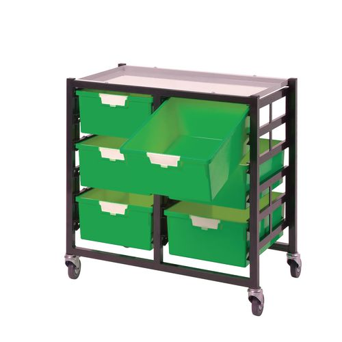 Mobile Tray Storage Unit 6 Deep Trays Green A4 690x435x620mm