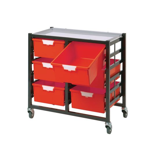 Mobile Tray Storage Unit 6 Deep Trays Red A4 690x435x620mm