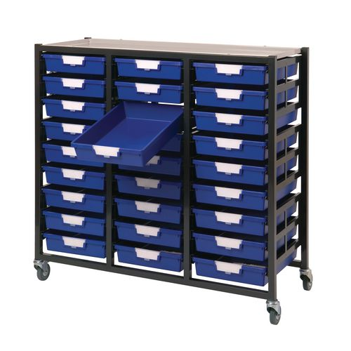 Mobile Tray Storage Unit 27 Shallow Trays Blue A4 1038x435x900mm