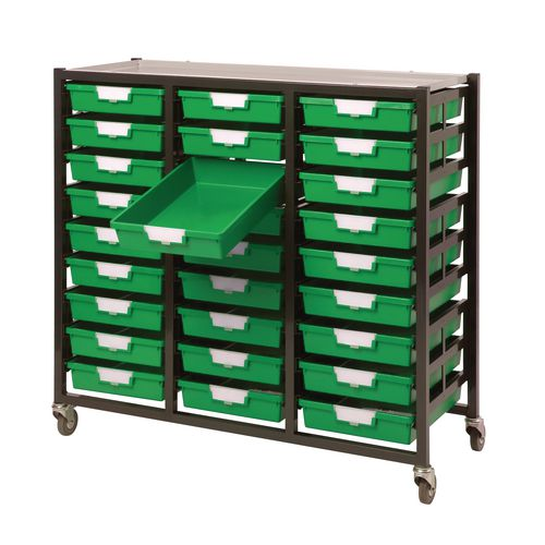 Mobile Tray Storage Unit 27 Shallow Trays Green A4 1038x435x900mm