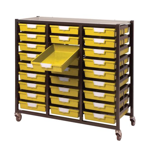 Mobile Tray Storage Unit 27 Shallow Trays Yellow A4 1038x435x900mm