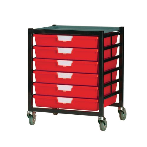 Mobile Tray Storage Unit 6 Shallow Trays Red A3 525x645x435mm