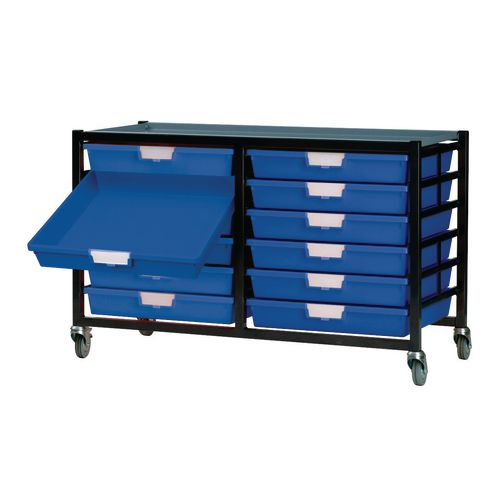 Mobile Tray Storage Unit -12 Shallow Trays Blue A3 1025x645x435mm