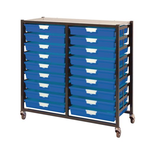 Mobile Tray Storage Unit 18 Shallow Trays Blue A3 1025x645x435mm