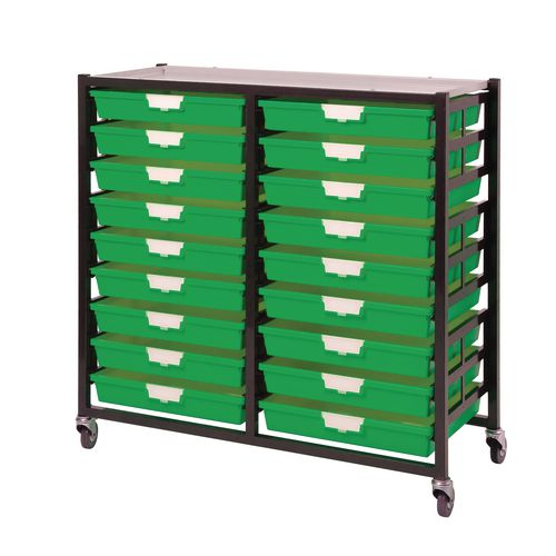 Mobile Tray Storage Unit 18 Shallow Trays Green A3 1025x645x435mm