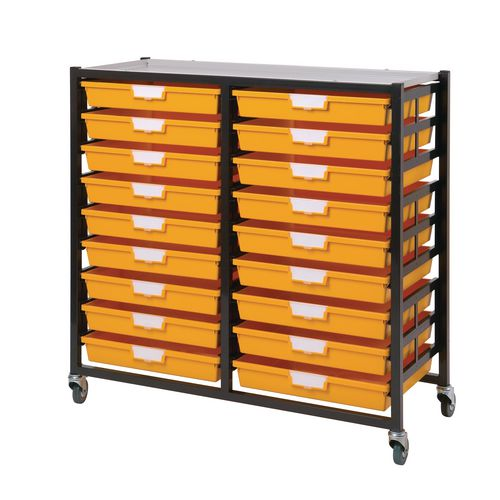 Mobile Tray Storage Unit 18 Shallow Trays Yellow A3 1025x645x435mm