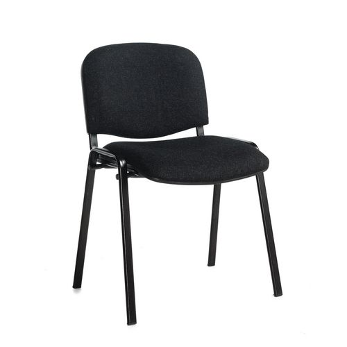 Chair Conference Stackable Blk Frame Charcoal Pk4