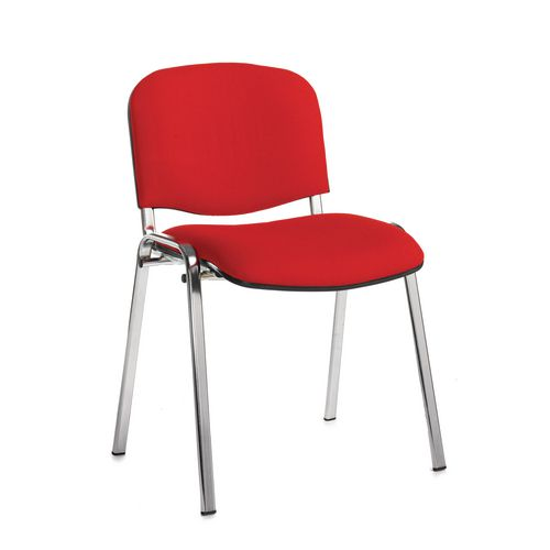 Chair Conference Stackable Chrome Frame Red Pack Of 4