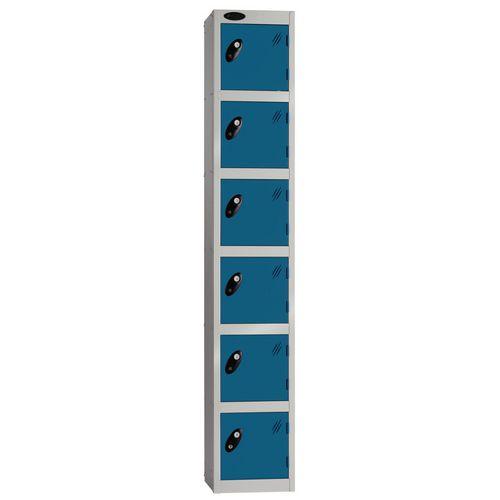Locker Economy Range 6 Door Depth:305mm Silver &Blue