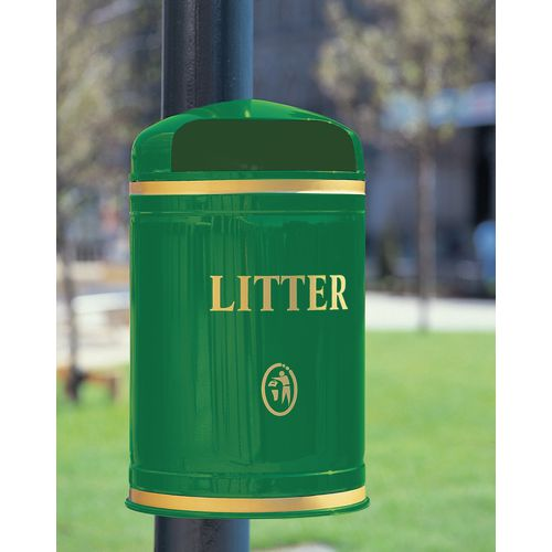 Bin Litter Dome Top Post Mount Gold Lettering Green
