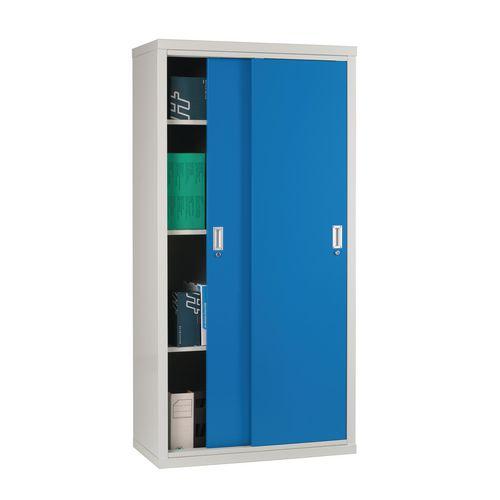 """Light Grey Cupboard Sliding Door 72""""X36""""X18"""" Blue Doors"""