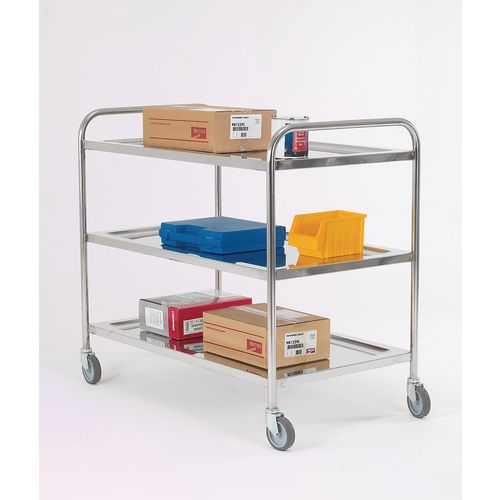 Trolley Pressed Shelf 3 Tier; Overall LxWxH: 600x425x815mm; Tray