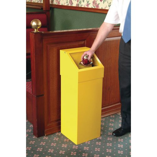 Bin-Sprung Flap-With Liner Yellow-310mm Squarex895mm High