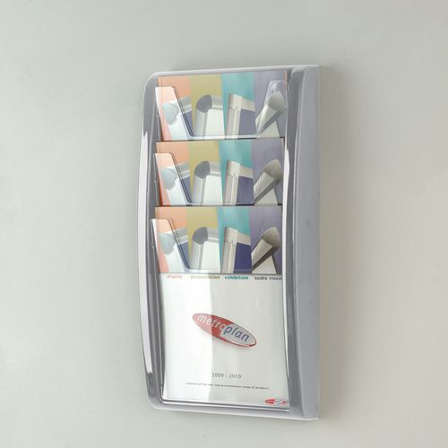 Leaflet Dispenser Wall Mounted 3Xa4 Pockets Grey