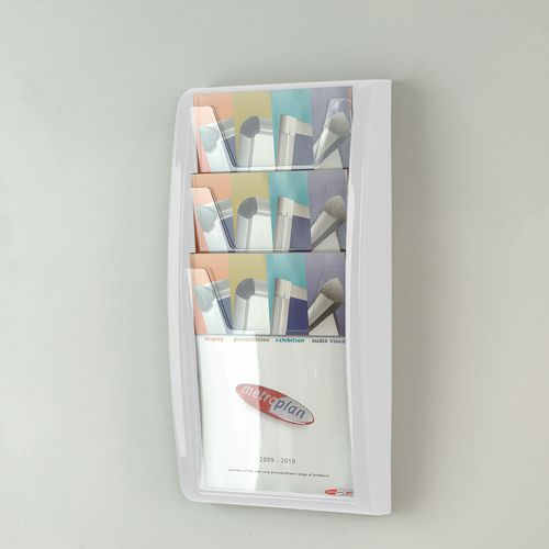 Leaflet Dispenser Wall Mounted 3Xa4 Pockets White