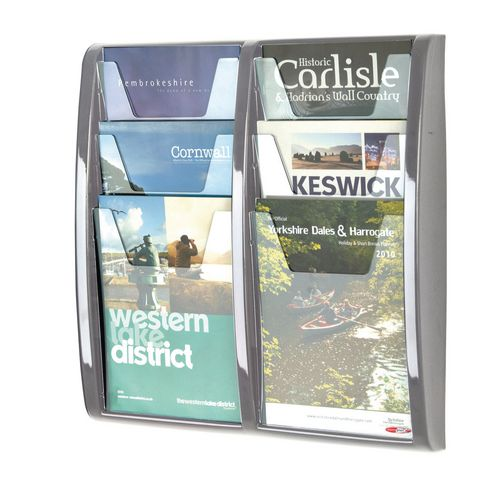 Leaflet Dispenser Wall Mounted 6Xa4 Pockets Grey
